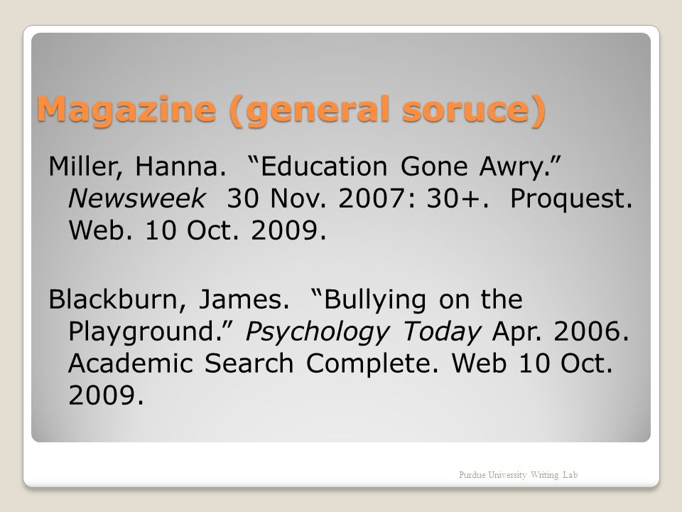 Magazine (general soruce) Miller, Hanna. Education Gone Awry.
