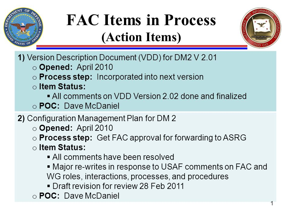 FAC Items in Process (Action Items) 1) Version Description Document (VDD) for DM2 V 2.01 o Opened: April 2010 o Process step: Incorporated into next version o Item Status: All comments on VDD Version 2.02 done and finalized o POC: Dave McDaniel 2) Configuration Management Plan for DM 2 o Opened: April 2010 o Process step: Get FAC approval for forwarding to ASRG o Item Status: All comments have been resolved Major re-writes in response to USAF comments on FAC and WG roles, interactions, processes, and procedures Draft revision for review 28 Feb 2011 o POC: Dave McDaniel 1