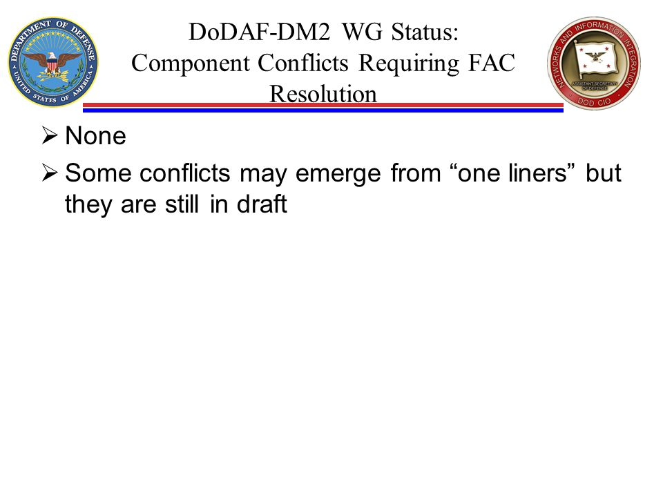 DoDAF-DM2 WG Status: Component Conflicts Requiring FAC Resolution None Some conflicts may emerge from one liners but they are still in draft