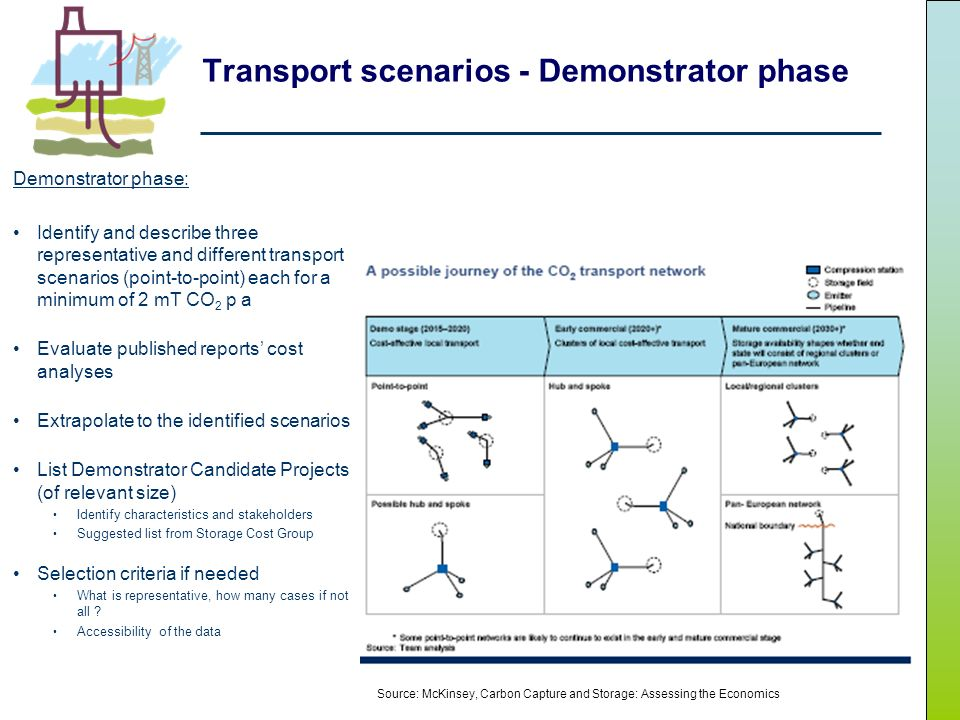 Transport scenarios - Demonstrator phase Demonstrator phase: Identify and describe three representative and different transport scenarios (point-to-point) each for a minimum of 2 mT CO 2 p a Evaluate published reports cost analyses Extrapolate to the identified scenarios List Demonstrator Candidate Projects (of relevant size) Identify characteristics and stakeholders Suggested list from Storage Cost Group Selection criteria if needed What is representative, how many cases if not all .