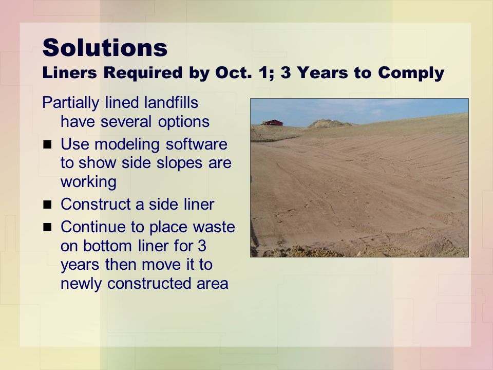 Solutions Liners Required by Oct.