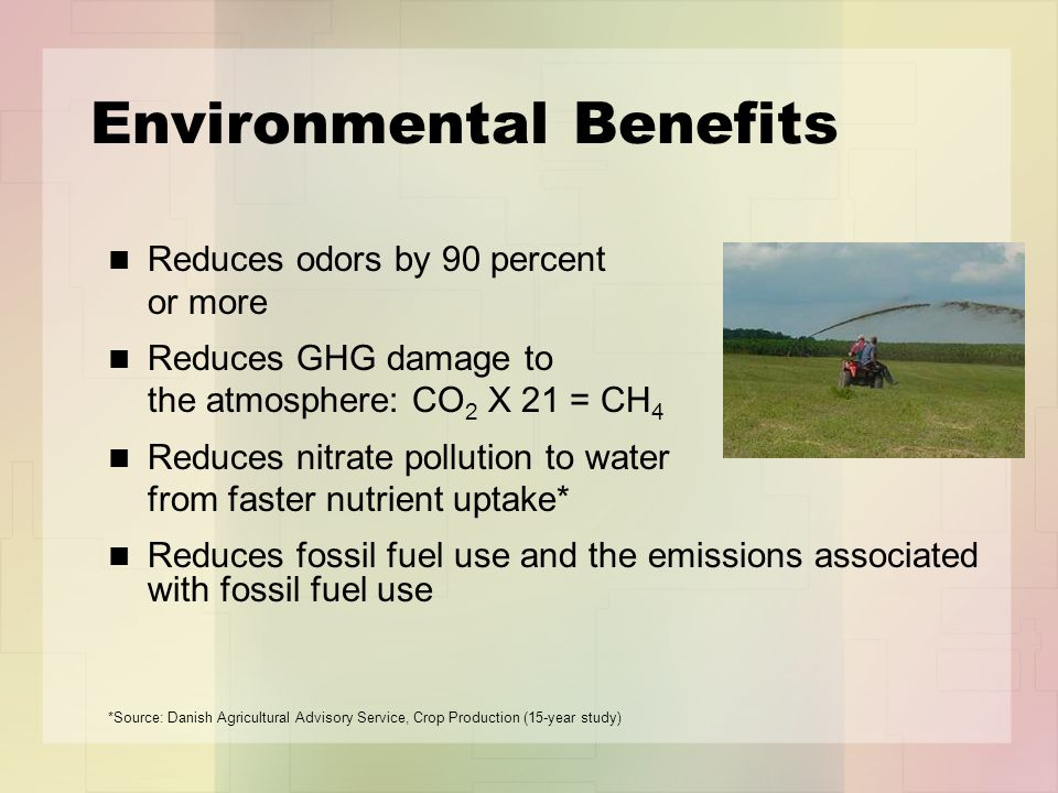 Environmental Benefits Reduces odors by 90 percent or more Reduces GHG damage to the atmosphere: CO 2 X 21 = CH 4 Reduces nitrate pollution to water from faster nutrient uptake* Reduces fossil fuel use and the emissions associated with fossil fuel use *Source: Danish Agricultural Advisory Service, Crop Production (15-year study)