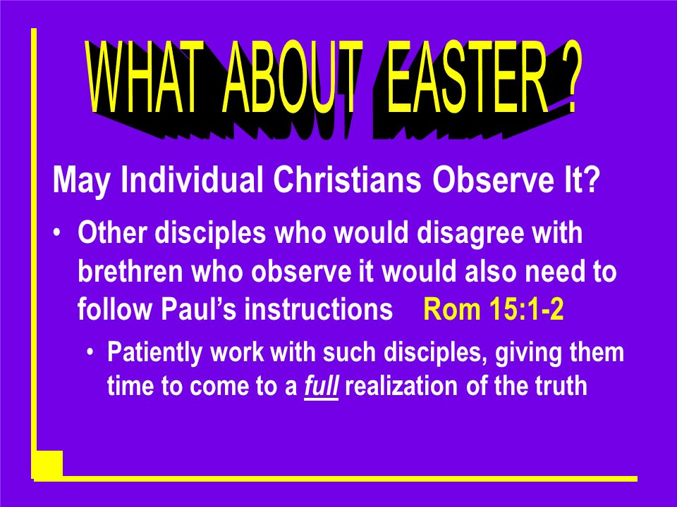 May Individual Christians Observe It.