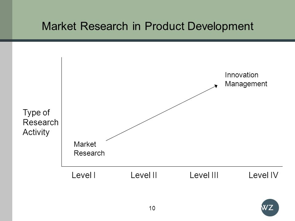 Type of Research Activity Level ILevel IILevel IIILevel IV Market Research Innovation Management Market Research in Product Development 10