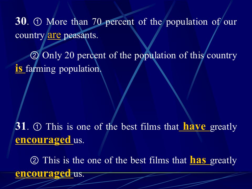 30. More than 70 percent of the population of our country are peasants.