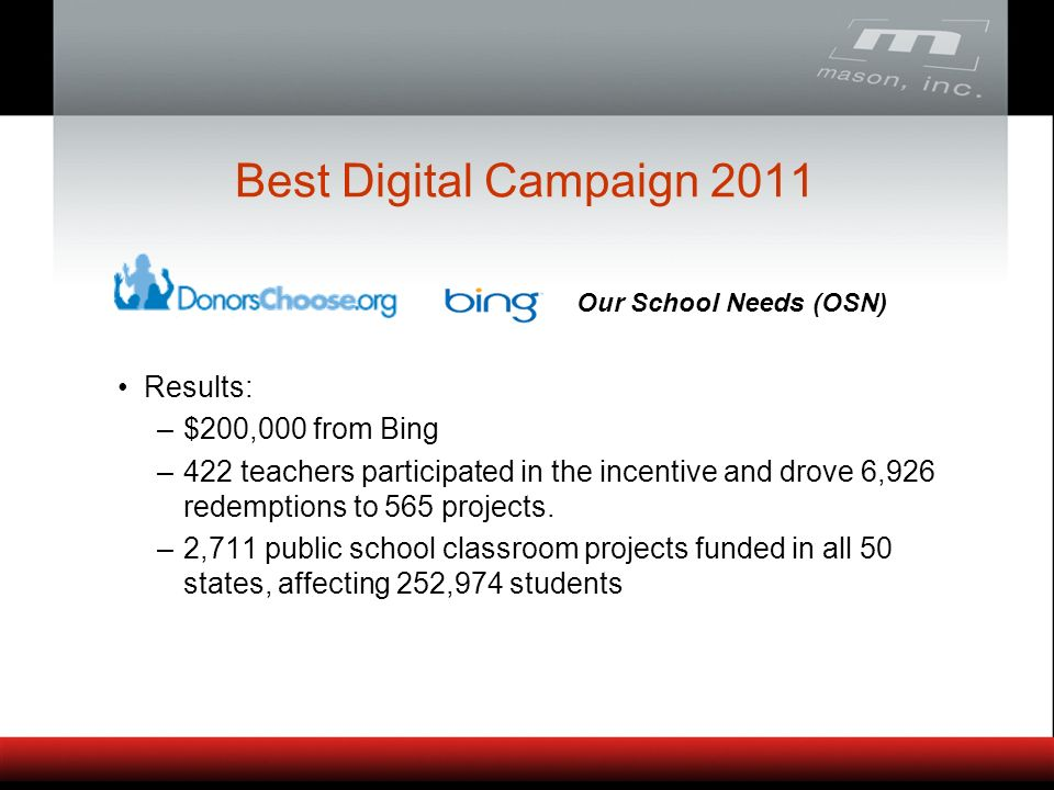 Best Digital Campaign 2011 Results: –$200,000 from Bing –422 teachers participated in the incentive and drove 6,926 redemptions to 565 projects.