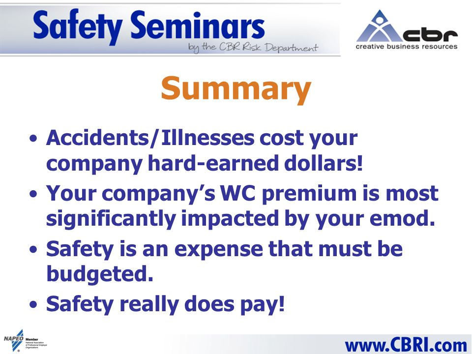 Summary Accidents/Illnesses cost your company hard-earned dollars.