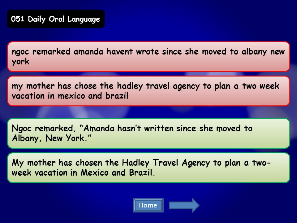 ngoc remarked amanda havent wrote since she moved to albany new york my mother has chose the hadley travel agency to plan a two week vacation in mexico and brazil Ngoc remarked, Amanda hasnt written since she moved to Albany, New York.