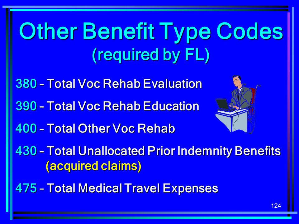 – Total Voc Rehab Evaluation 390 – Total Voc Rehab Education 400 – Total Other Voc Rehab 430 – Total Unallocated Prior Indemnity Benefits (acquired claims) 475 – Total Medical Travel Expenses Other Benefit Type Codes (required by FL)
