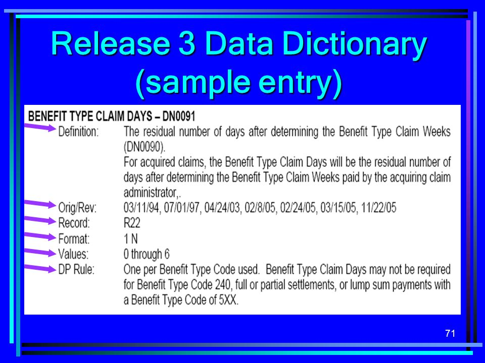 71 Release 3 Data Dictionary (sample entry)