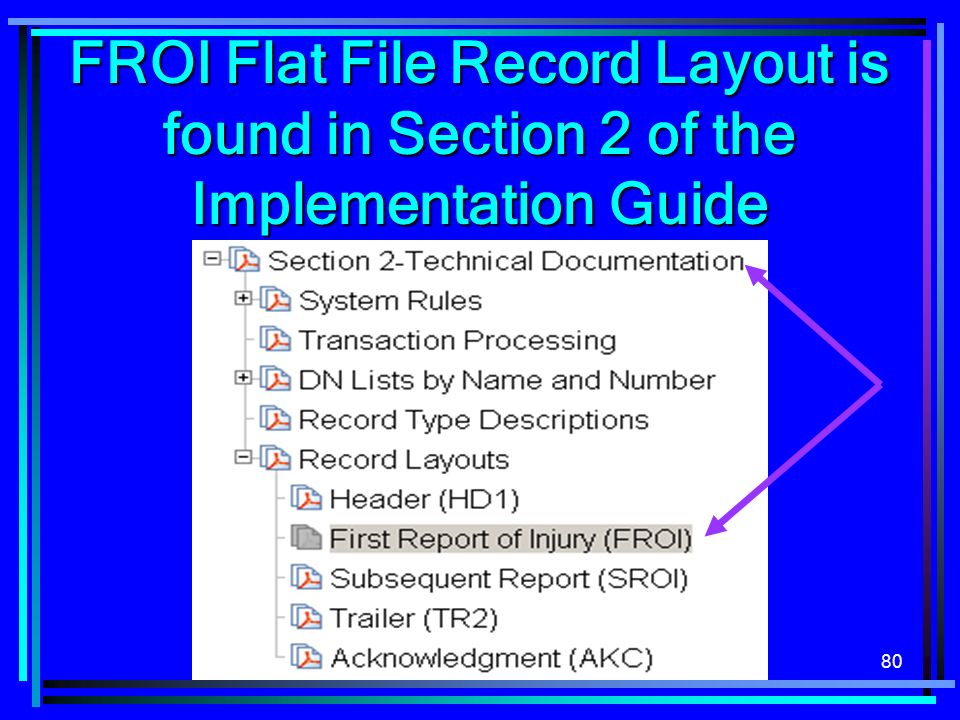 80 FROI Flat File Record Layout is found in Section 2 of the Implementation Guide