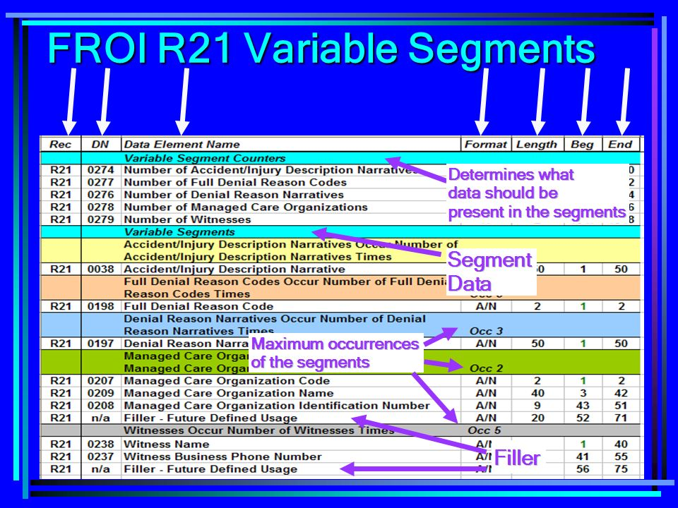 83 FROI R21 Variable Segments