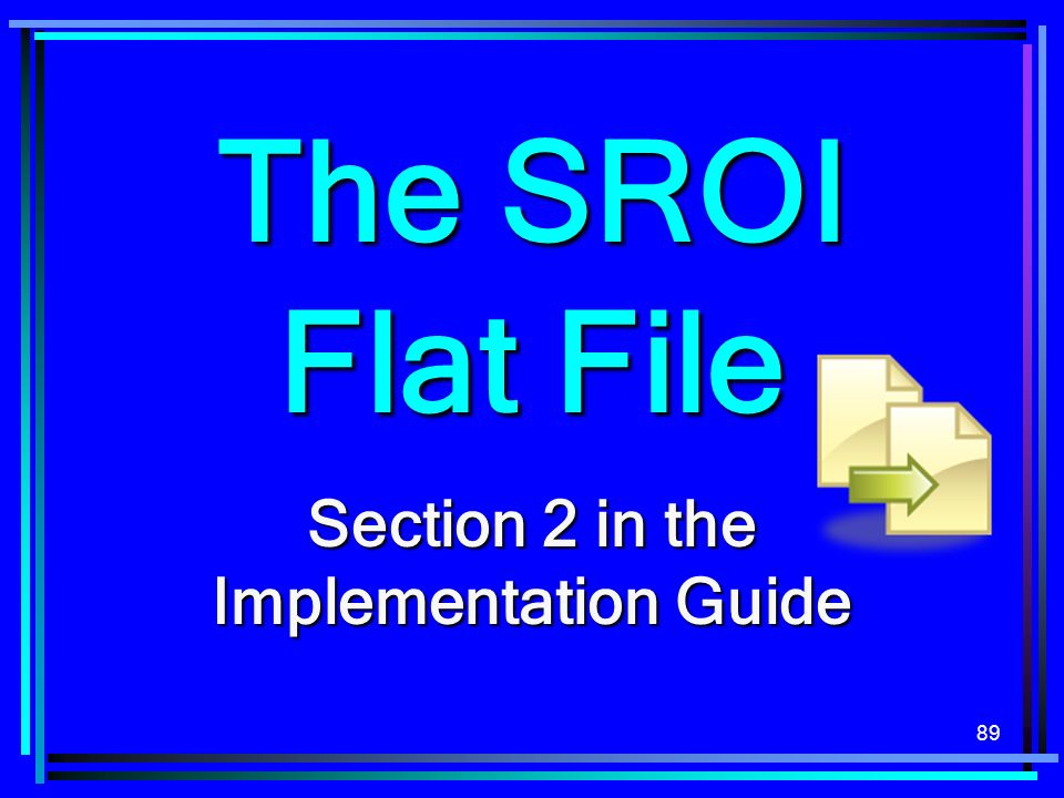 89 The SROI Flat File Section 2 in the Implementation Guide