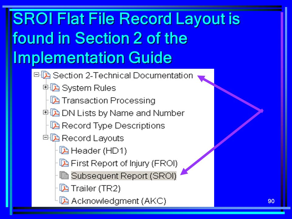 90 SROI Flat File Record Layout is found in Section 2 of the Implementation Guide