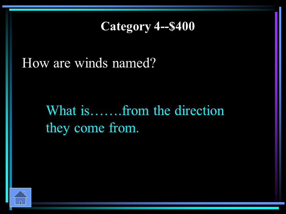 Category 4--$200 What measures wind speed What is…….an anemometer.