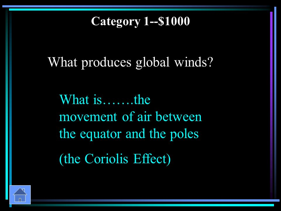 Category 1--$800 What are all winds caused by What is…….differencies in air pressure