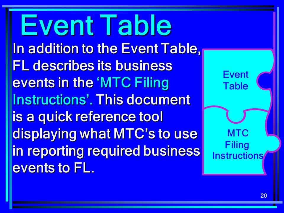20 In addition to the Event Table, FL describes its business events in the MTC Filing Instructions.