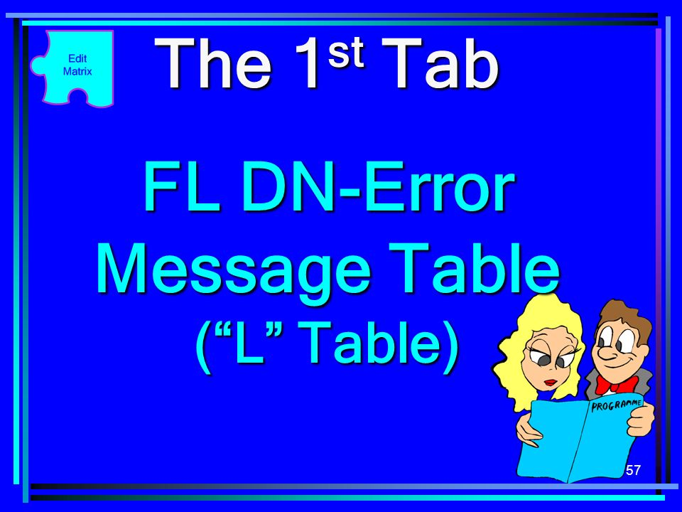 57 The 1 st Tab FL DN-Error Message Table (L Table)