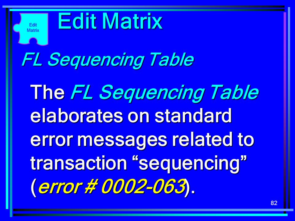 82 Edit Matrix FL Sequencing Table The FL Sequencing Table elaborates on standard error messages related to transaction sequencing (error # 0002-063).
