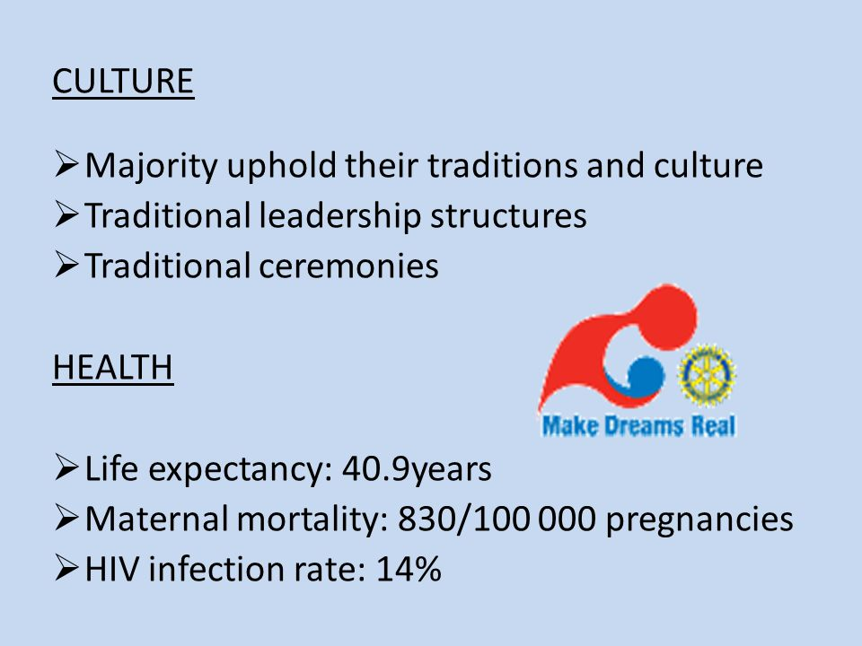CULTURE Majority uphold their traditions and culture Traditional leadership structures Traditional ceremonies HEALTH Life expectancy: 40.9years Maternal mortality: 830/ pregnancies HIV infection rate: 14%