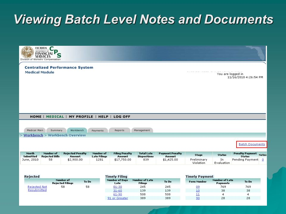 Viewing Batch Level Notes and Documents