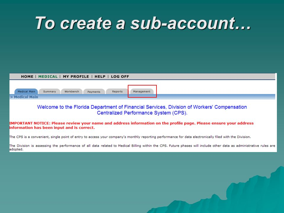 To create a sub-account…
