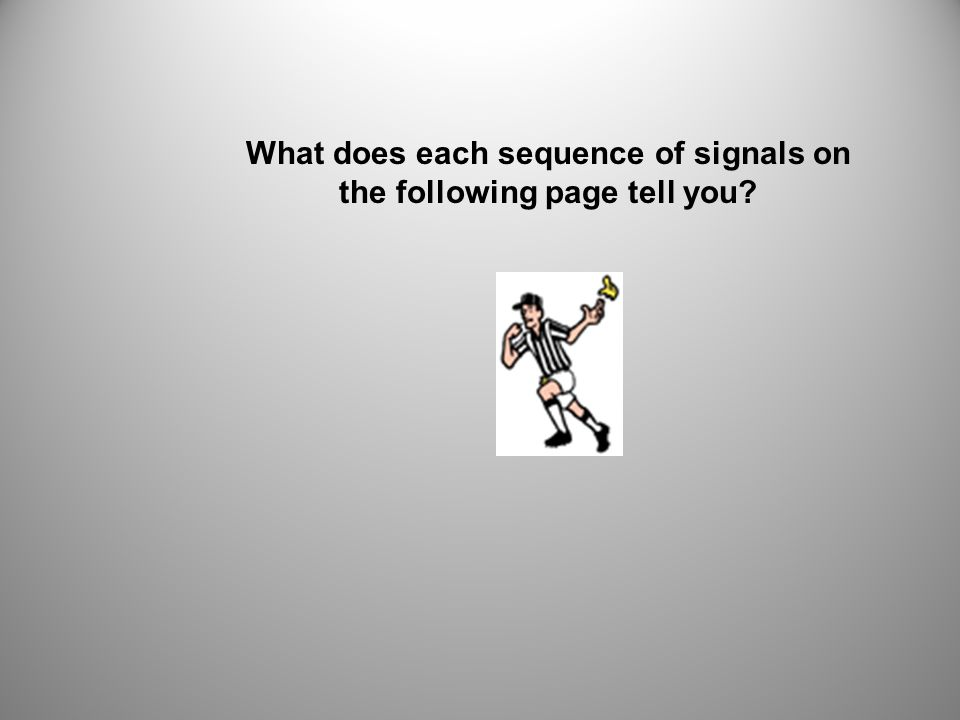 What does each sequence of signals on the following page tell you