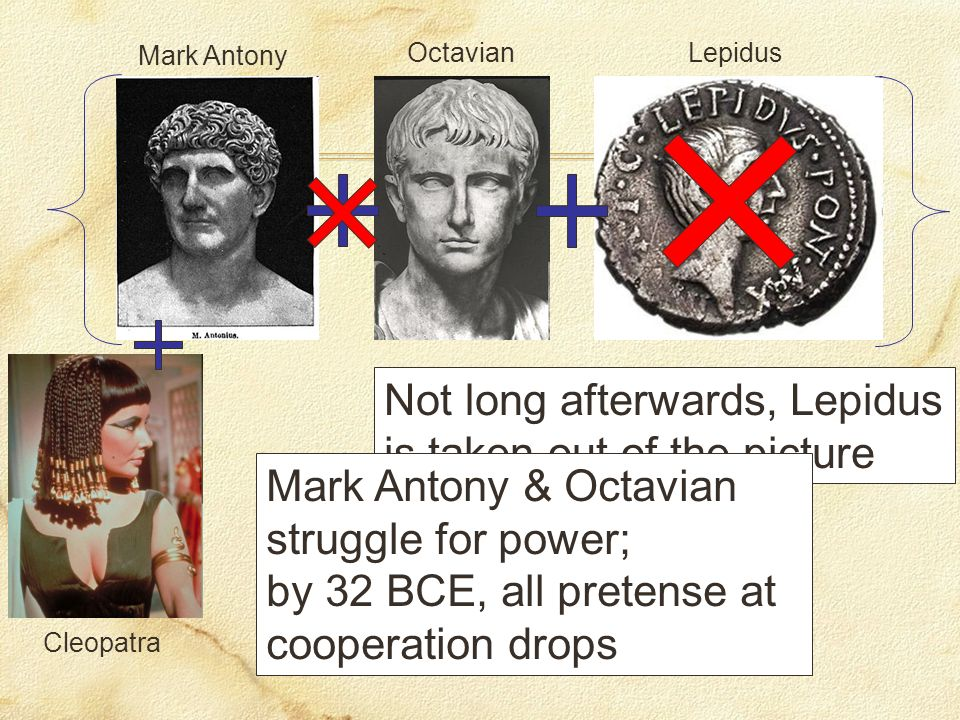 Mark Antony OctavianLepidus Not long afterwards, Lepidus is taken out of the picture Mark Antony & Octavian struggle for power; by 32 BCE, all pretense at cooperation drops Cleopatra