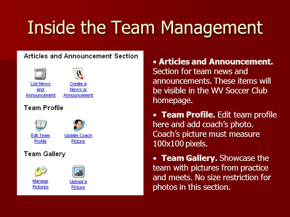 Inside the Team Management Articles and Announcement.