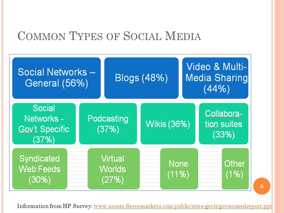 C OMMON T YPES OF S OCIAL M EDIA 5 Information from HP Survey: