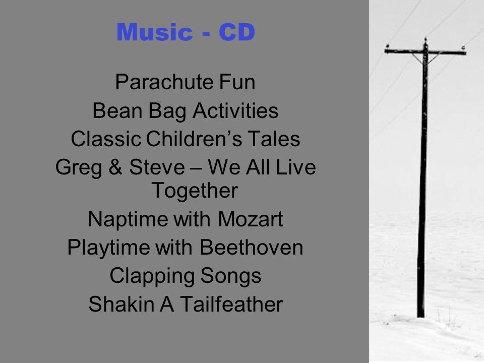 Music - CD Parachute Fun Bean Bag Activities Classic Childrens Tales Greg & Steve – We All Live Together Naptime with Mozart Playtime with Beethoven Clapping Songs Shakin A Tailfeather