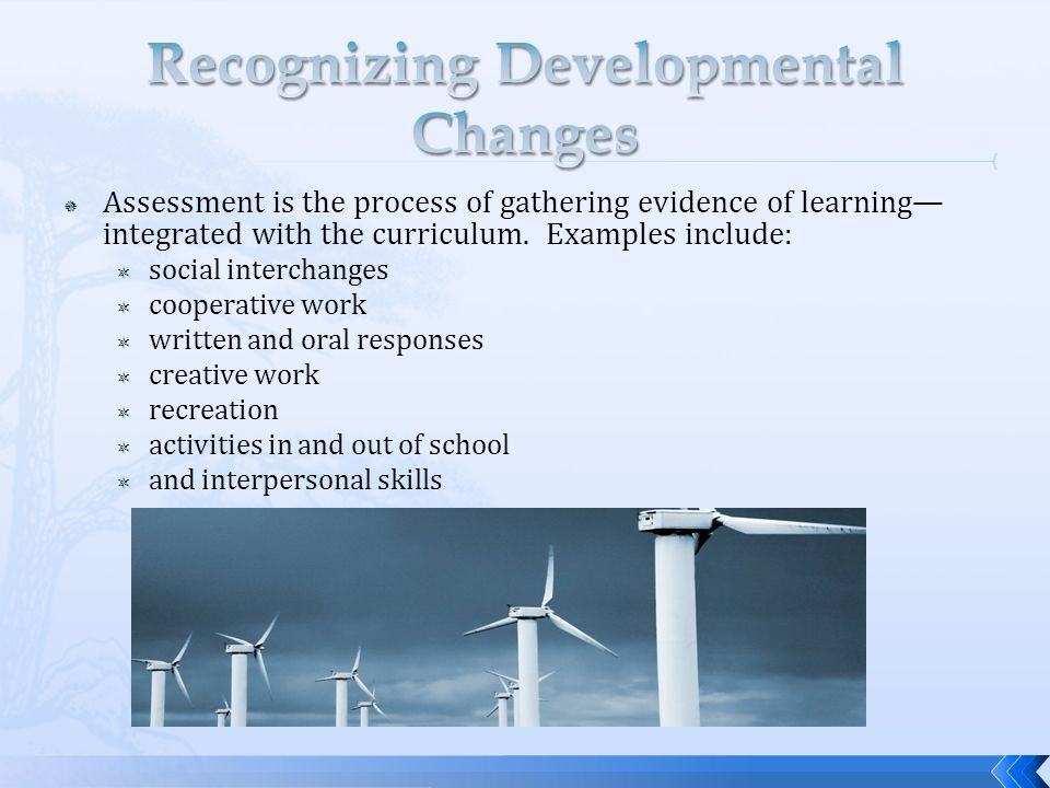 Assessment is the process of gathering evidence of learning integrated with the curriculum.