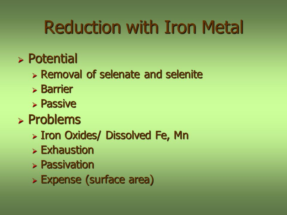 Reduction with Iron Metal Potential Potential Removal of selenate and selenite Removal of selenate and selenite Barrier Barrier Passive Passive Problems Problems Iron Oxides/ Dissolved Fe, Mn Iron Oxides/ Dissolved Fe, Mn Exhaustion Exhaustion Passivation Passivation Expense (surface area) Expense (surface area)