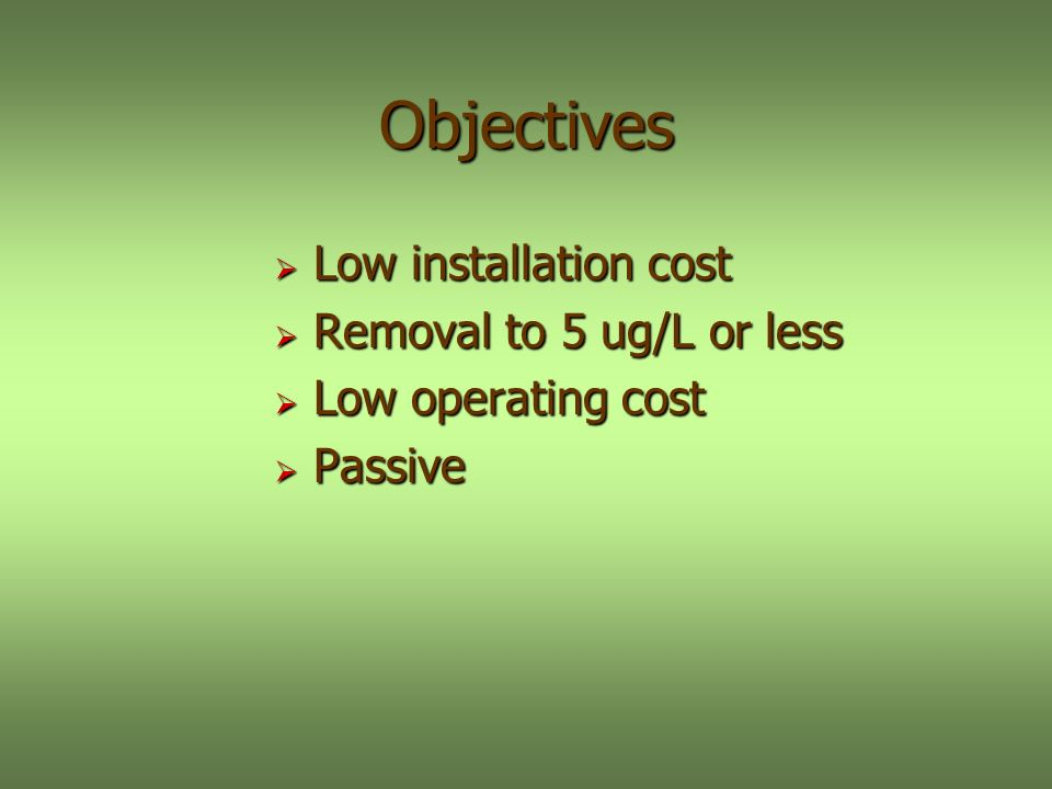 Objectives Low installation cost Low installation cost Removal to 5 ug/L or less Removal to 5 ug/L or less Low operating cost Low operating cost Passive Passive