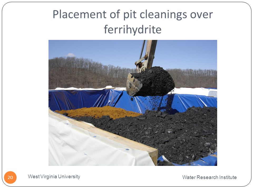 Placement of pit cleanings over ferrihydrite Water Research Institute West Virginia University 20