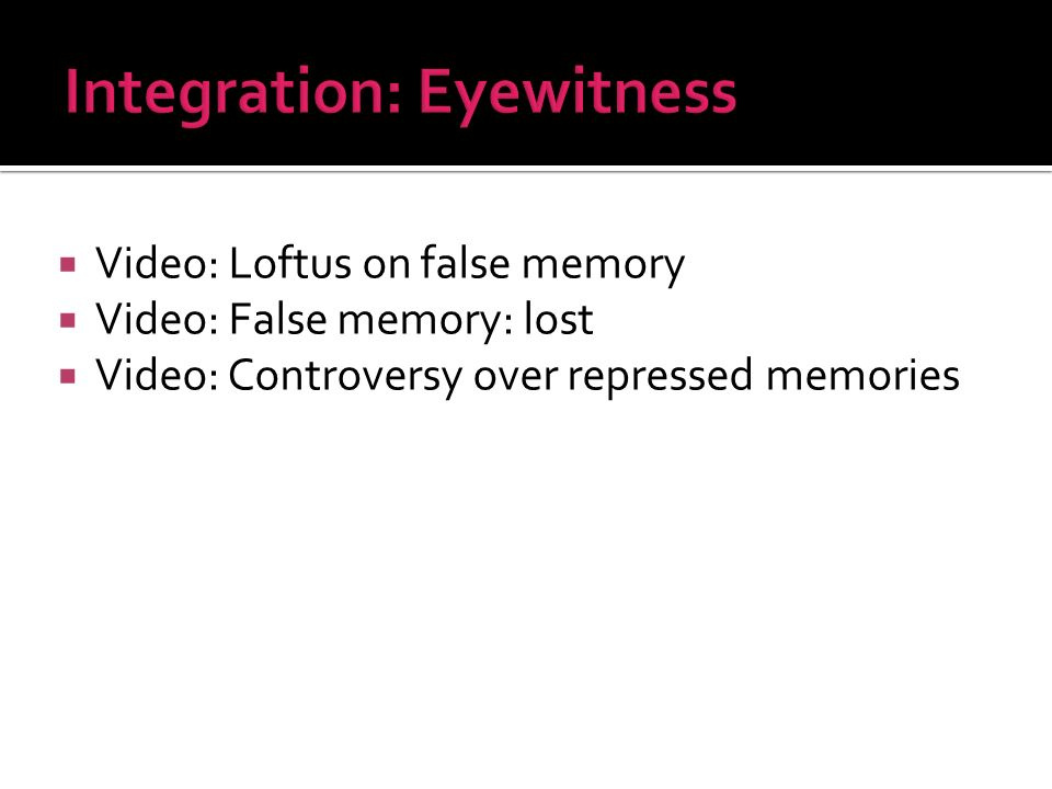 Video: Loftus on false memory Video: False memory: lost Video: Controversy over repressed memories