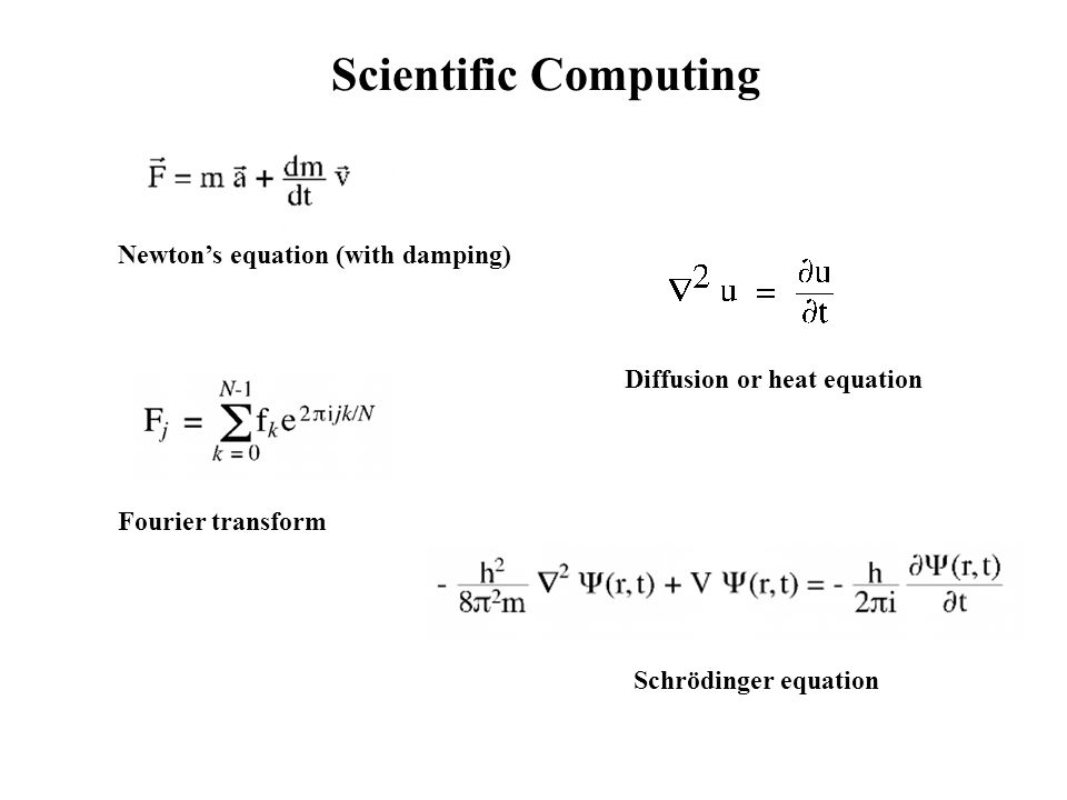 Scientific Computing Newtons equation (with damping) Diffusion or heat equation Fourier transform Schrödinger equation