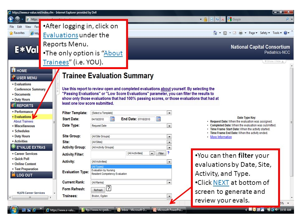 After logging in, click on Evaluations under the Reports Menu.