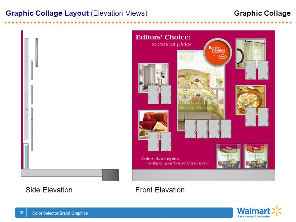 12 Color Selector Brand Graphics Graphic Collage Layout (Elevation Views) Graphic Collage Side Elevation Front Elevation