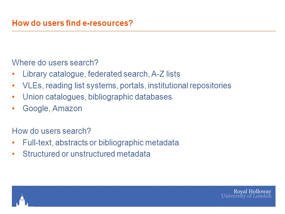 Where do users search.