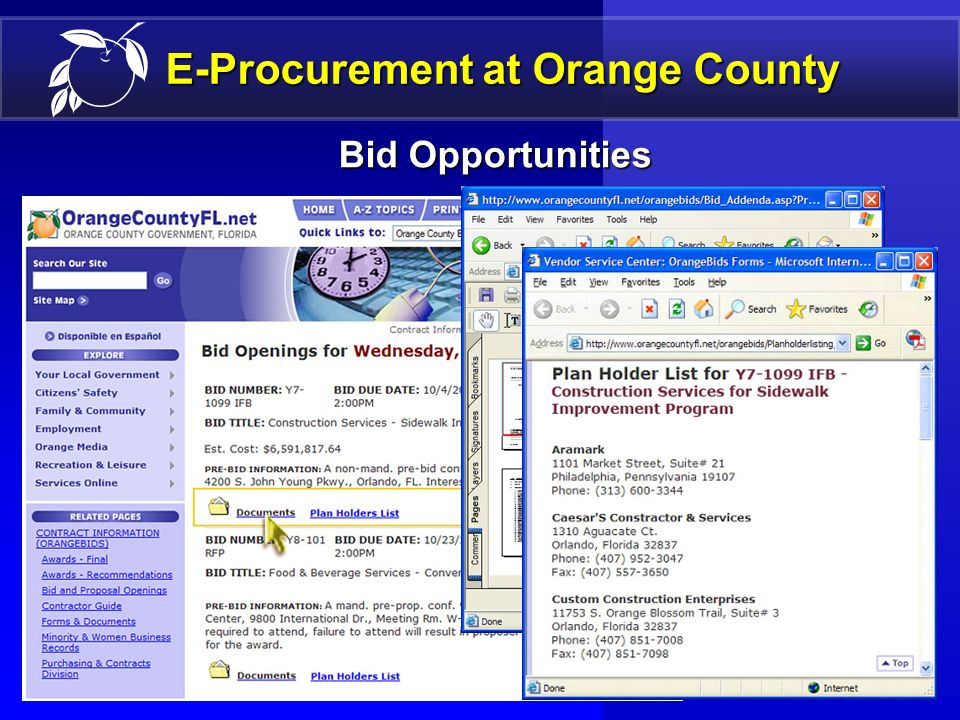 14 E-Procurement Presentation Outline DefinitionDefinition BenefitsBenefits Orange County ImplementationOrange County Implementation ManagementManagement FutureFuture Questions/DiscussionQuestions/Discussion Special PresentationSpecial Presentation