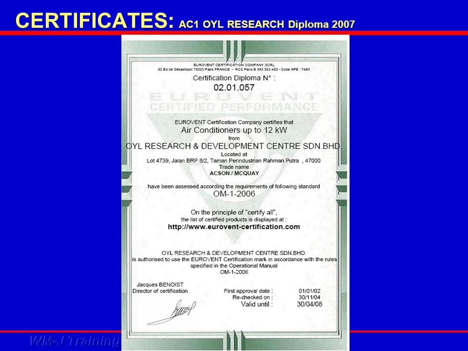 CERTIFICATES: AC1 OYL RESEARCH Diploma 2007
