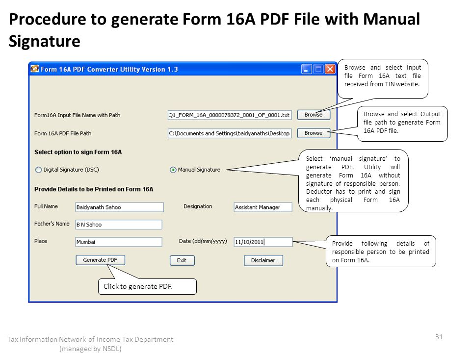 Generator website 16a pdf form tin