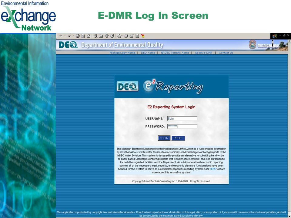 6 E-DMR Log In Screen