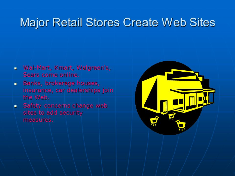 Major Retail Stores Create Web Sites Wal-Mart, Kmart, Walgreen s, Sears come online.