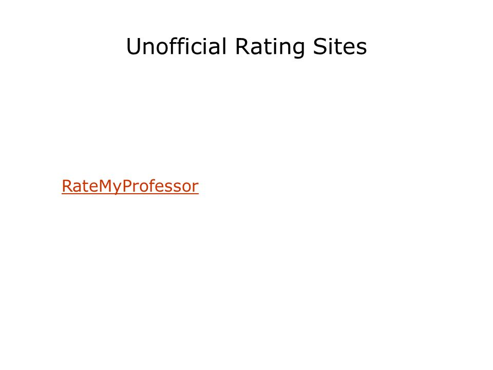 Unofficial Rating Sites RateMyProfessor