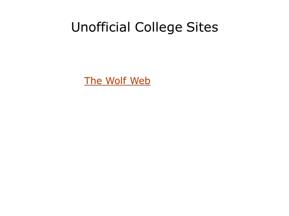 Unofficial College Sites The Wolf Web
