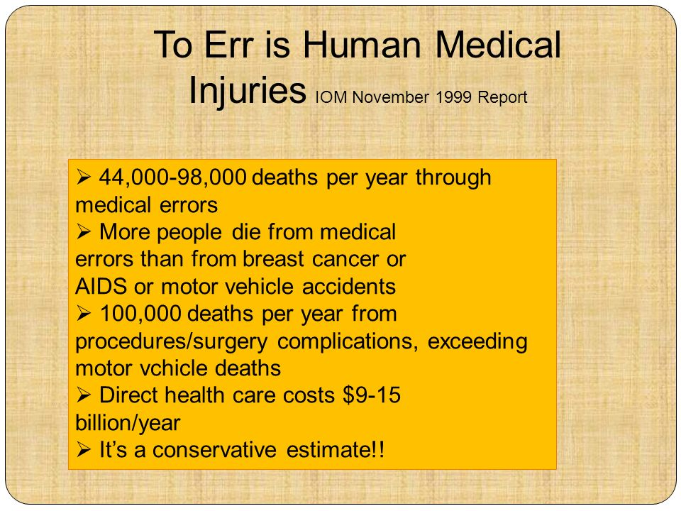 To Err is Human Medical Injuries IOM November 1999 Report 44,000-98,000 deaths per year through medical errors More people die from medical errors than from breast cancer or AIDS or motor vehicle accidents 100,000 deaths per year from procedures/surgery complications, exceeding motor vchicle deaths Direct health care costs $9-15 billion/year Its a conservative estimate!!