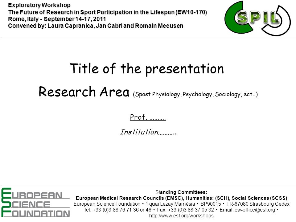 Title of the presentation Prof. ………. Institution………..