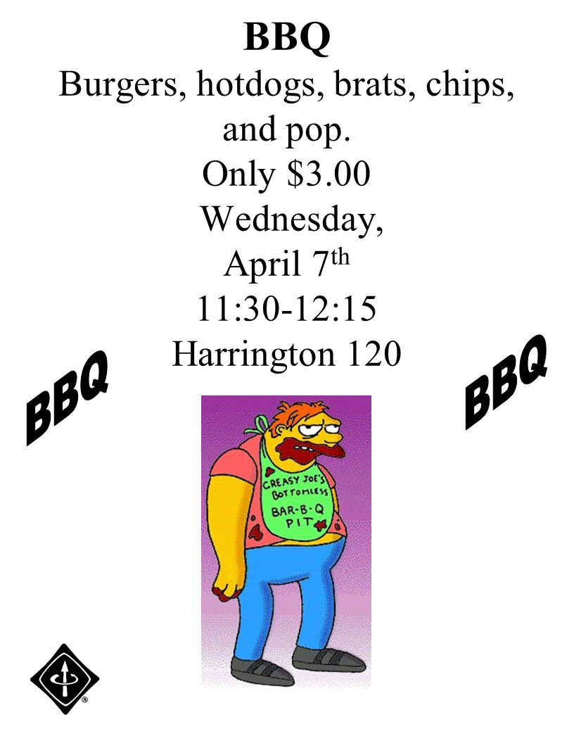 BBQ Burgers, hotdogs, brats, chips, and pop.